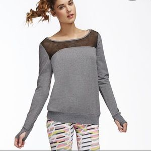 Fabletics Weston Pullover in Grey with Black Mesh